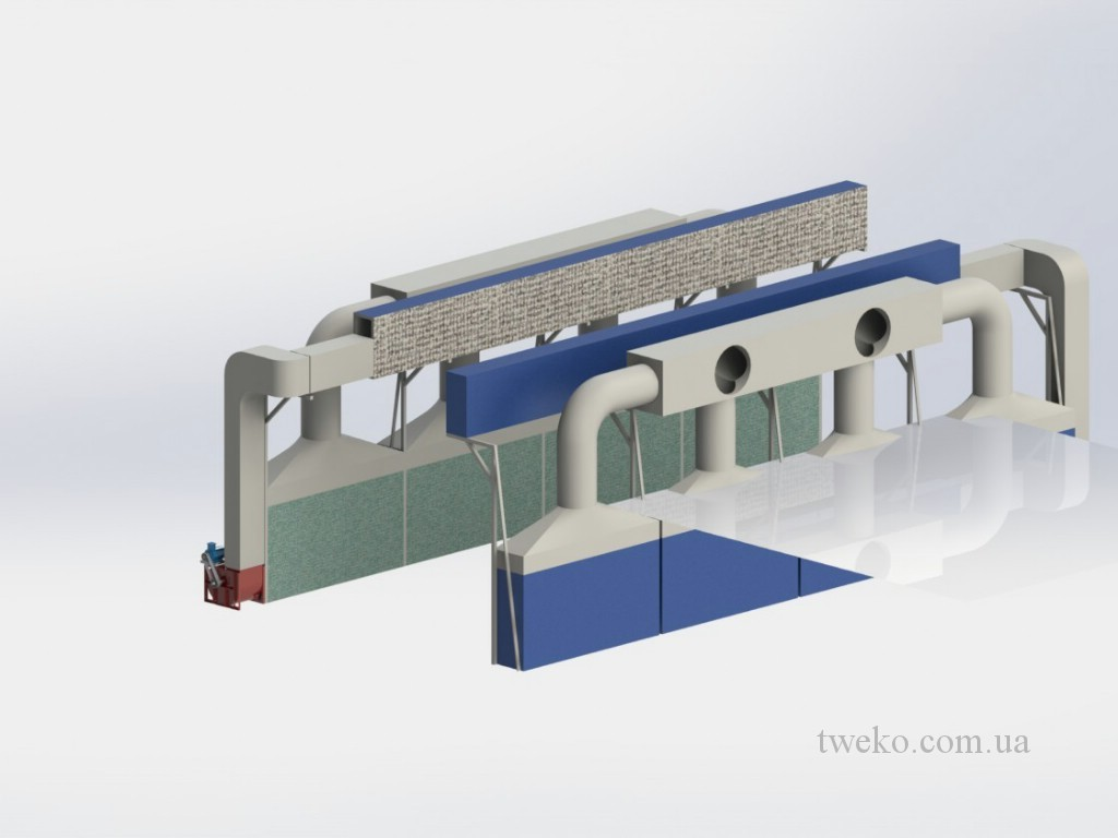 Spray booth for agricultural machinery