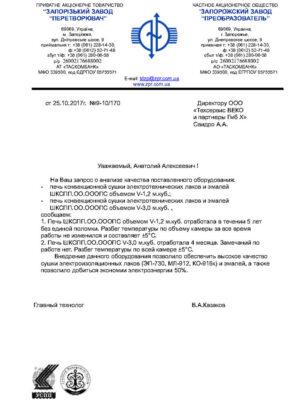 """ПАТ «Запорізький завод """"Перетворювач""""» рекомендація"""