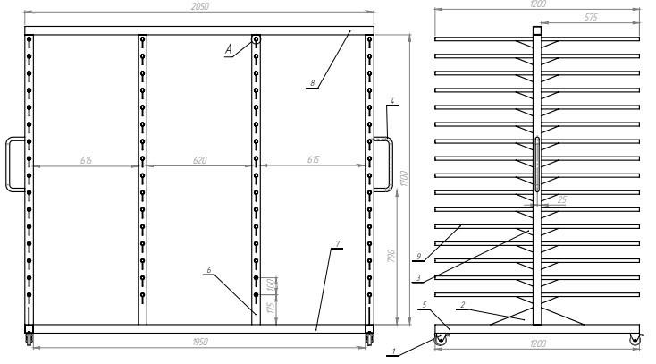 Мобильный стеллаж для сушки (двойной)